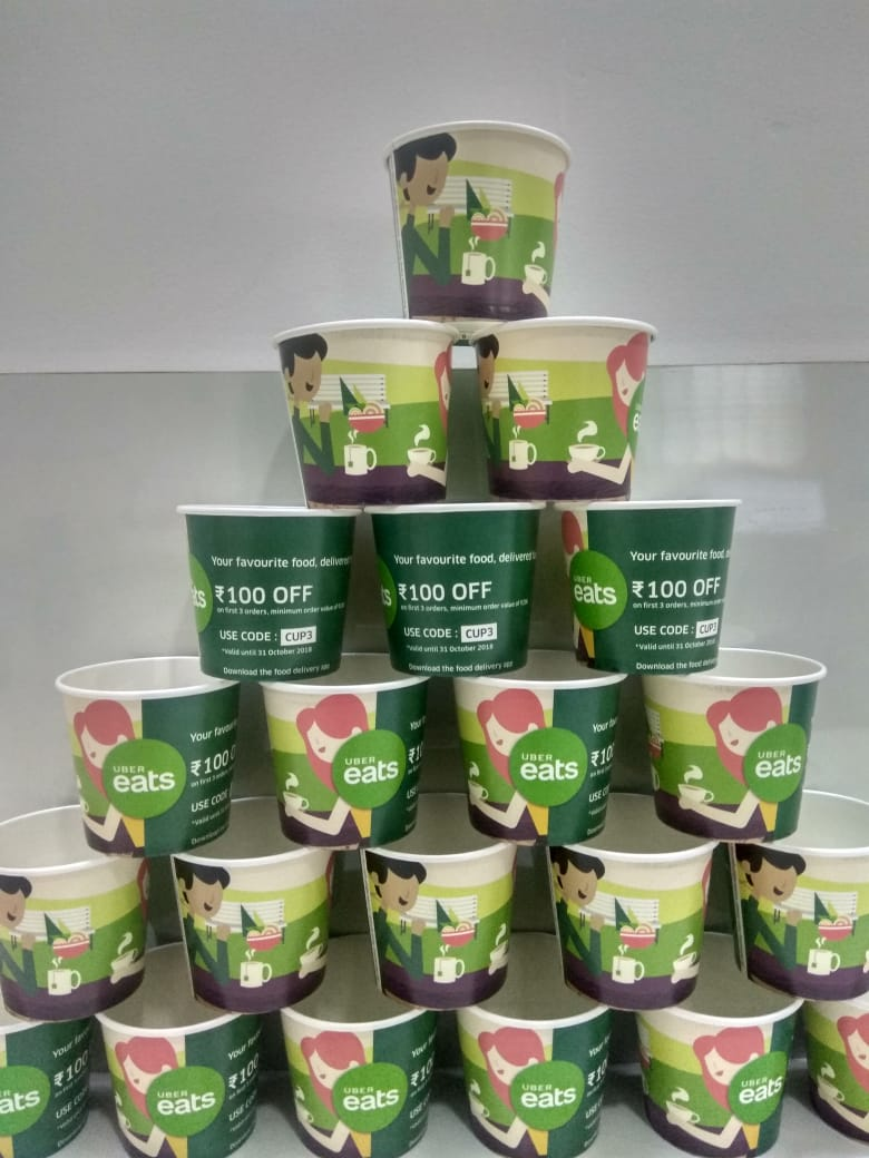 uber eats branded paper cup campaign