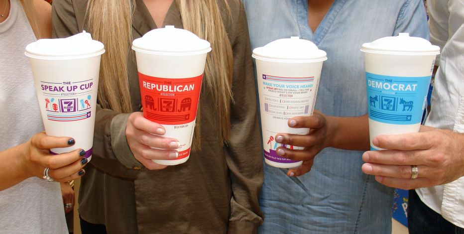 USA elections coffee cup advertising